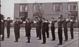 Drill Competition c 1974. Brian Cockling 2nd from left wearing a white lanyard   Neil Hamilton