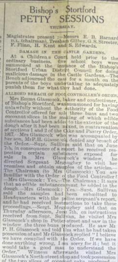 Emma Glasscock's prosecution | Herts & Essex Observer, Jun 1917