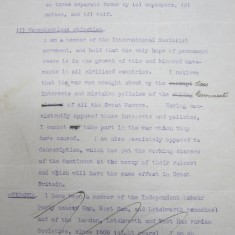 Statement of Conscientious Objection by Frederic J Osborn, 22 Feb1916 | HALS Ref DE/FJO/A19