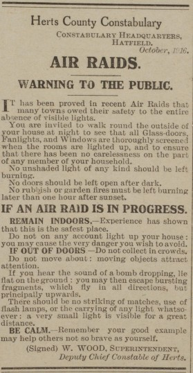 Air Raid Warning notice  | Herts and Essex Observer