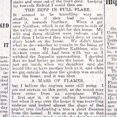 Eye witness account of the 'Zeppelin' crash at Cuffley, September 1916