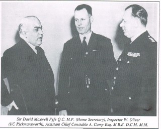 Sir David Maxwell Fyfe (Home Secretary) Dep CC Abel Camp and Inspector Oliver