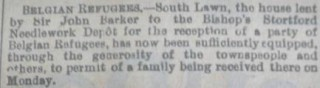 Belgian Refugees | Herts and Essex Observer Sept 1914
