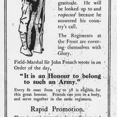 Call for Men, Hertfordshire Mercury, 1914   Hertfordshire Mercury, 1914