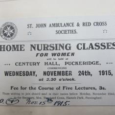Advert for Home Nursing Classes, 1915 | HALS Ref DE/X 275/B3