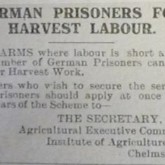 German PoWs for Harvest Labour | Herts and Essex Observer, Sept 1918
