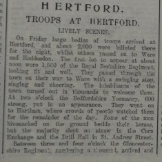Soldiers in Town Slide Show | Hertfordshire Mercury, 29 Aug, 1914