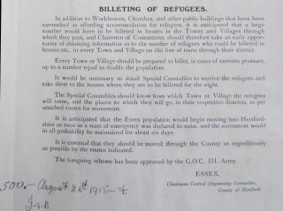 Notice about Billeting of UK Refugees, 1915 | HALS Ref DE/X 275/B3