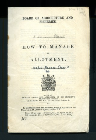How to Manage an Allotment, 1917 | BSM 892