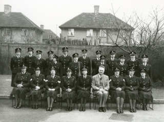Officers of the constabulary's Women's Department, photographed with Chief Constable A.F. Wilcox circa 1950. (Margaret is seated on the front row, first from the left) | Hertfordshire Constabulary Historical Society