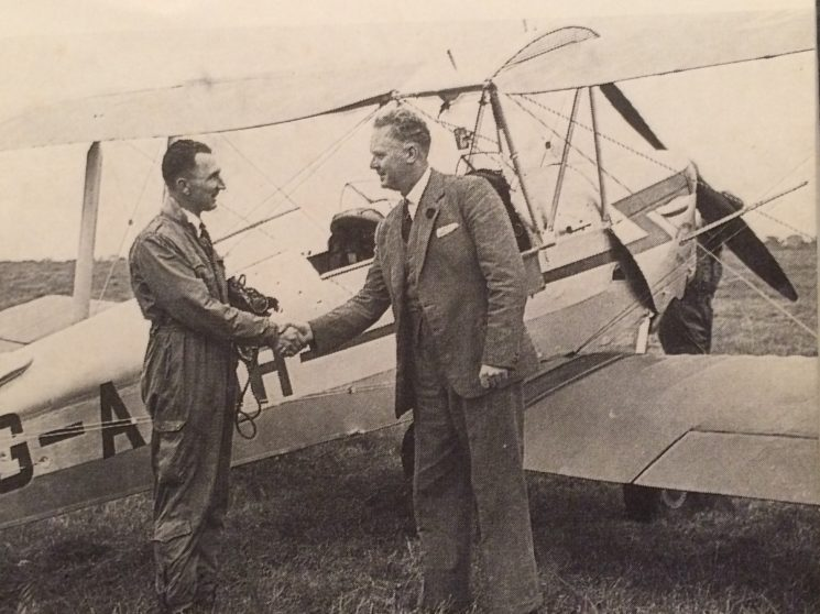 Chief Constable A.F. Wilcox (right) visits the Hertfordshire Police Flying Club, at Panshanger airfield on 15th September 1956.