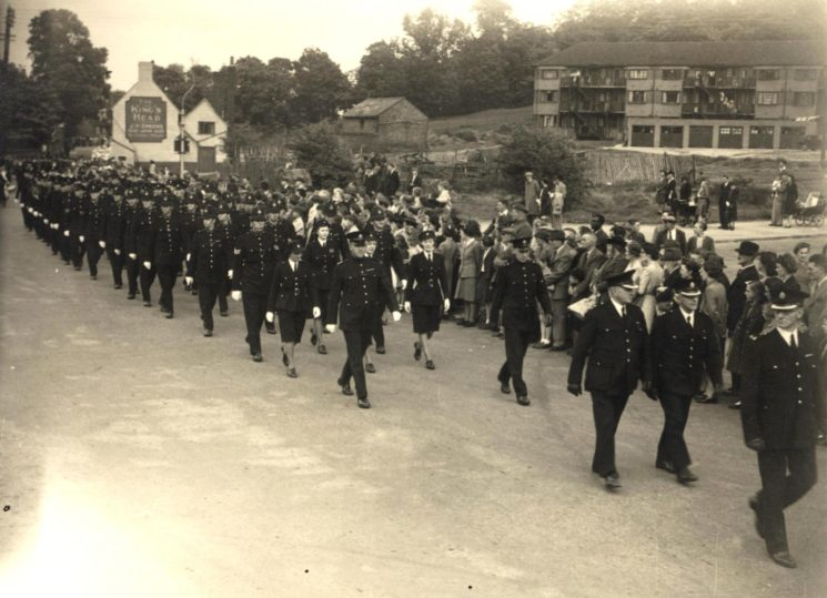 Victory Parade c. 1945 Officers, Led By Supt. Reeves, of E Division (Hitchin) March Along Queen Street Hitchin