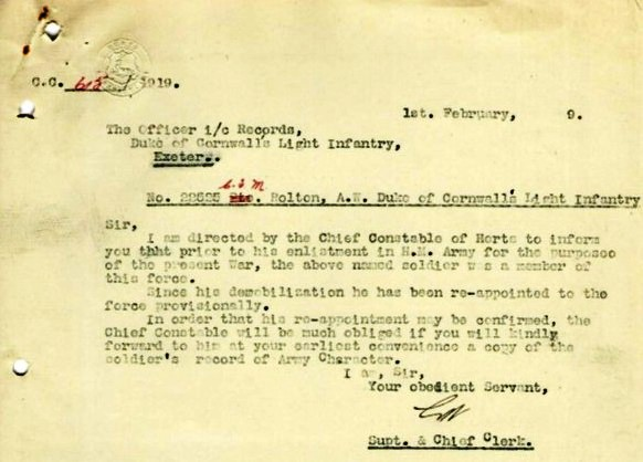 Albert William Bolton Letter To D.C.L.I. | Herts Police Historical Society