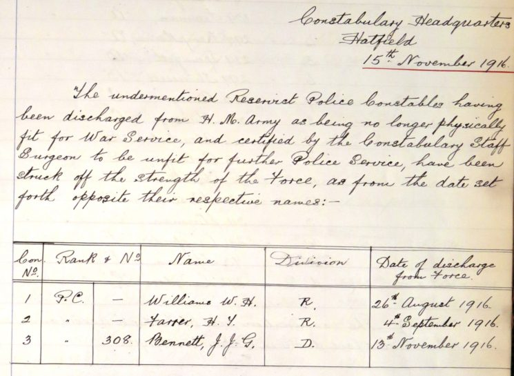 William Henry Williams Unfit For Further Service | Herts Police Historical Society