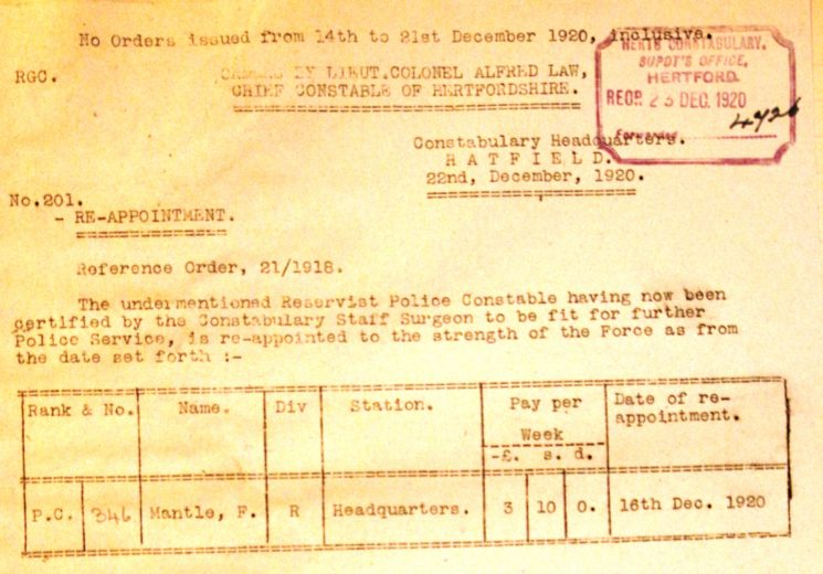 Frederick Allen Mantle Re-appointment To The Police   Herts Police Historical Society