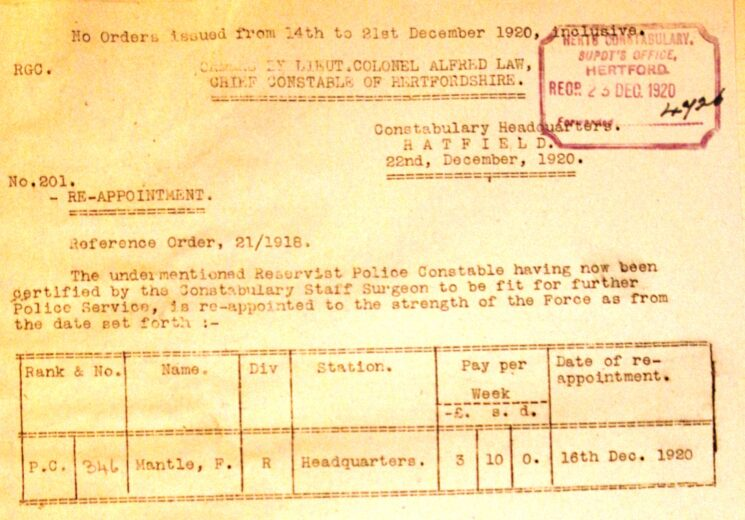 Frederick Allen Mantle Re-appointment To The Police | Herts Police Historical Society
