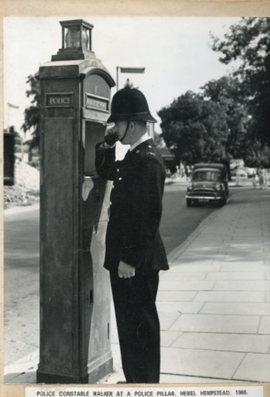 Police Constable Walker at a Police Box in Hemel Hempstead 1965