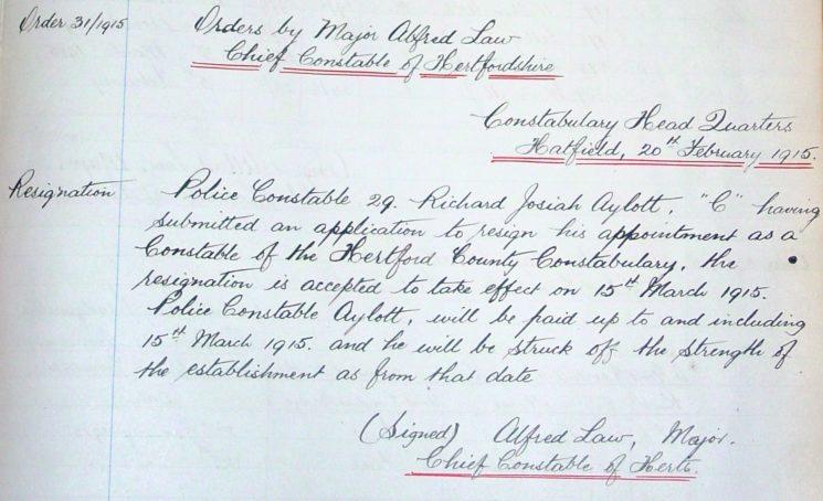 Richard Josiah Aylott General Order 31.1915 | Herts Police Historical Society