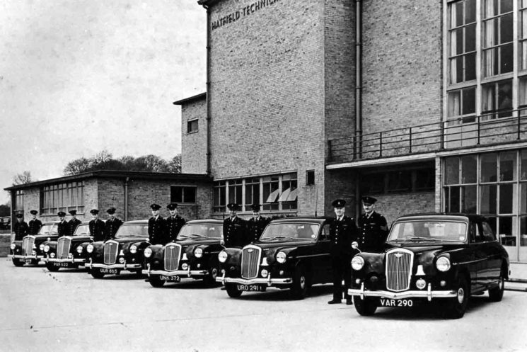 Wolseley Area Cars around 1955 outside Hatfield Technical College.