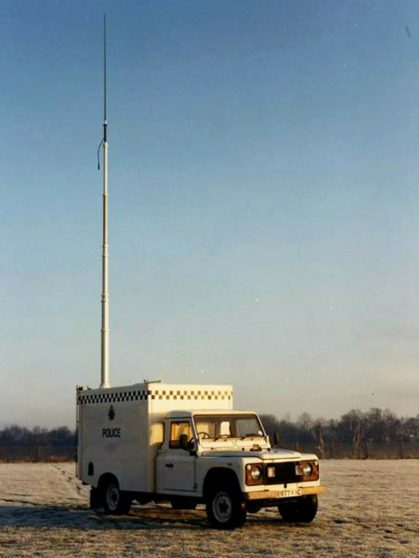 1988 Land Rover 127, E997 KAC with radio mast extended.