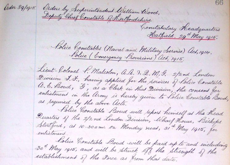 Arthur Edward Boud Enlistment | Herts Police Historical Society