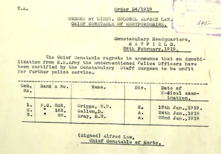 Daniel Gallen Unfit For Duty 1919 | Herts Police Historical Society