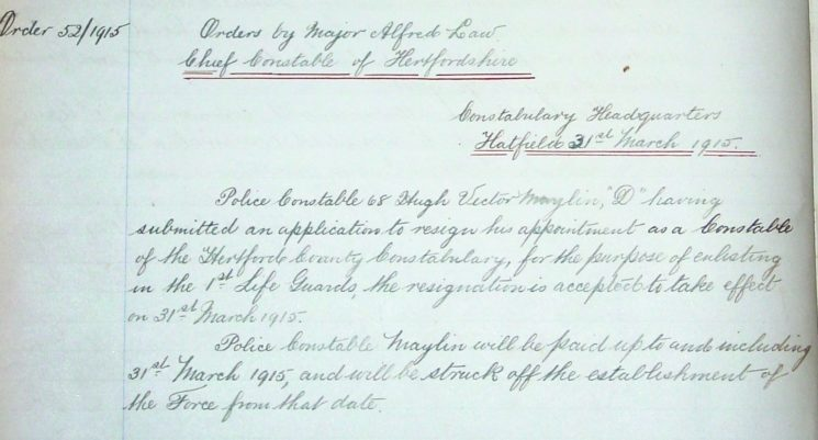 Hugh Victor Maylin Resignation   Herts Police Historical Society