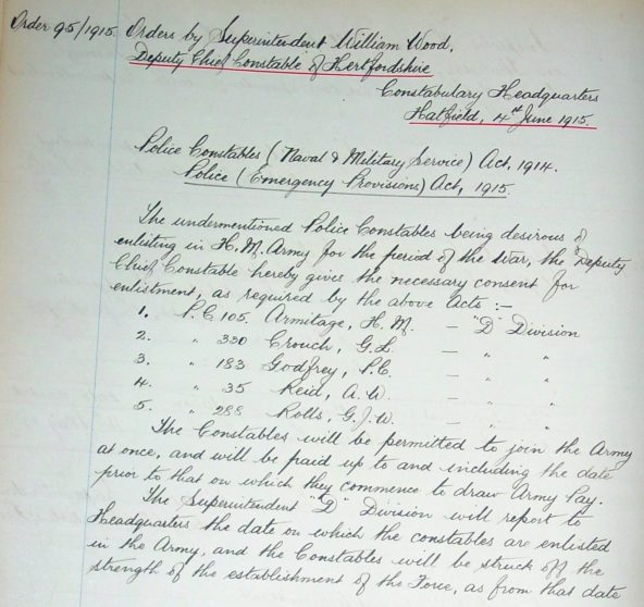 Percy Crispin Godfrey Enlistment | Herts Police Historical Society