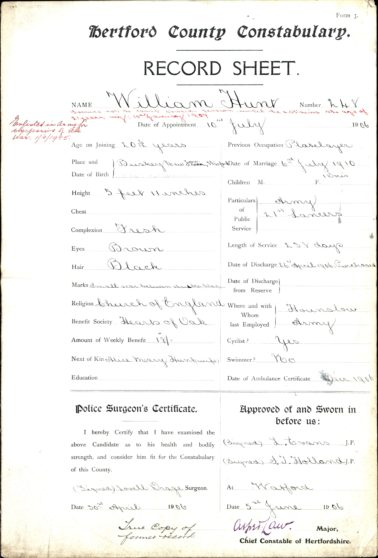 William Frederick Hunt Form 3 Police Service Record | Herts Police Historical Society
