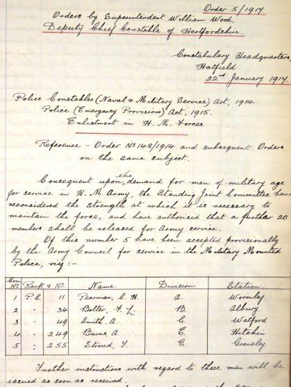 Archibald Roger Burns Enlistment   Hertsd Police Historical Society