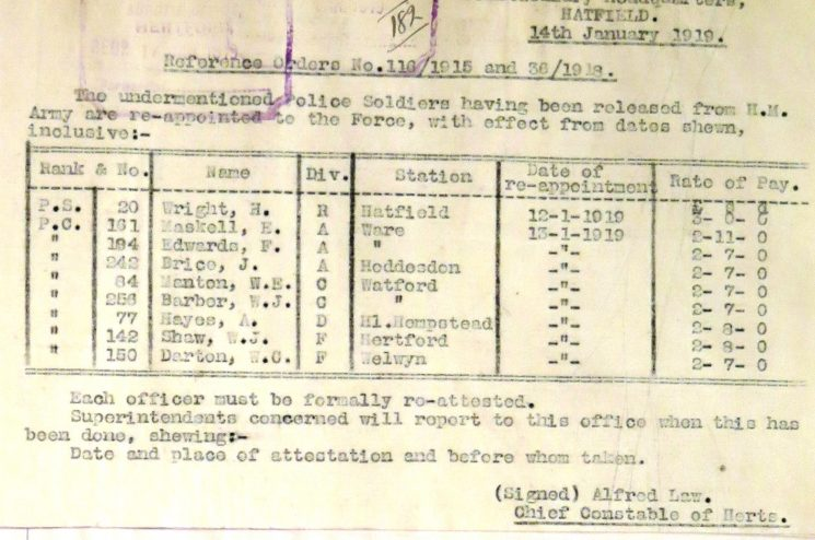 Walter James Barber Re-joining Police   Herts Police Historical Society