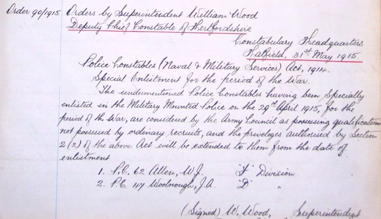 William John Allen Enlistment | Herts Police Historical Society