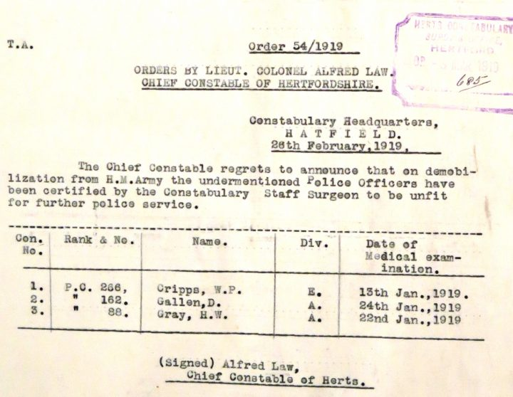William Percy Cripps Unfit For Police Duty | Herts Police Historical Society