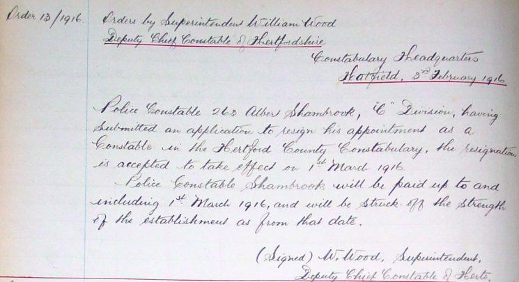 Albert Shambrook Resignation   Herts Police Historical Society