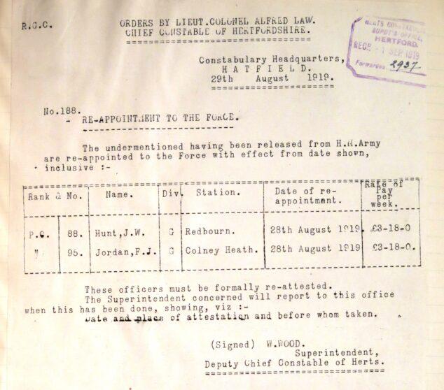 Frank John Jordan Re-joining The Police | Herts Police Historical Society