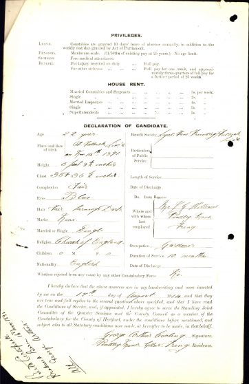 George Arthur Cooling Application To Join Police | Herts Police Historical Society