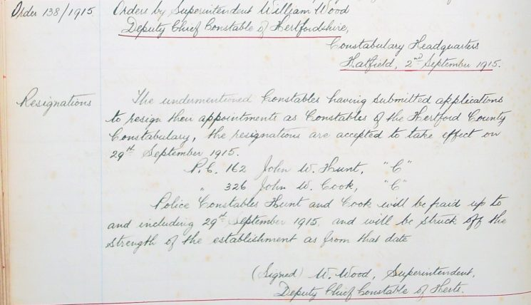 John W Cook Resignation | Herts Police Historical Society
