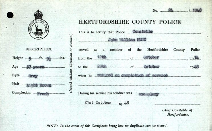 John William Hunt Certificate of Police Service | Herts Police Historical Society