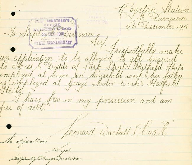 Leonard Wackett Request Permission To Marry | Herts Police Historical Society