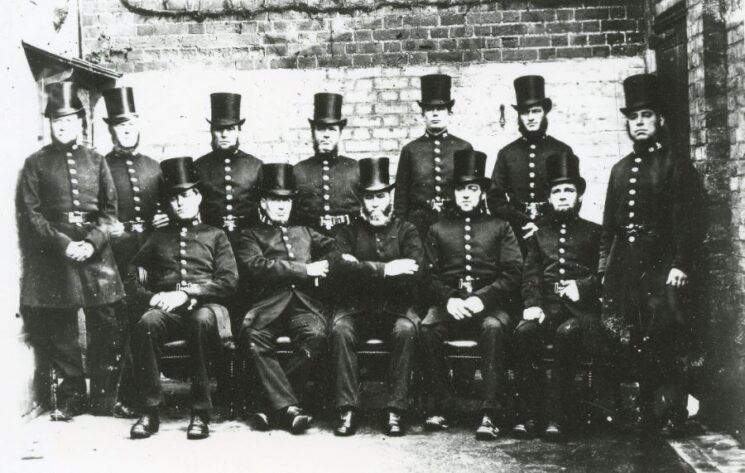 Officers in Yard, 19th Century