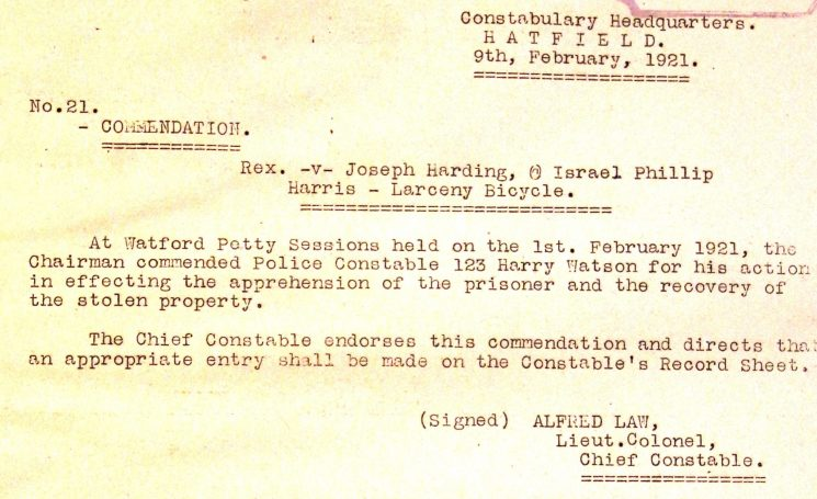 PC 123 Harry Watson Commendation | Herts Police Historical Society