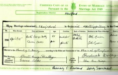 Marriage certificate - left hand side