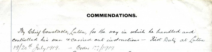 Harry's Commendation during the police riots in Luton 1919