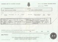 Pangbourne's death certificate