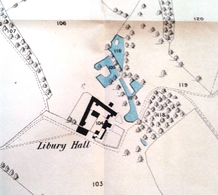 Map showing Libury Hall, Little Munden