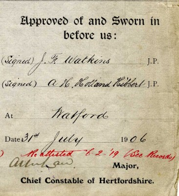 Sworn in Statement of Harry Wright; Off Acc 229