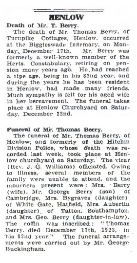Thomas Walter Berry Snr obituary