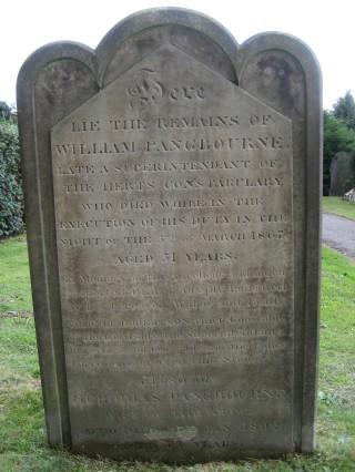 William Pangbourne's headstone